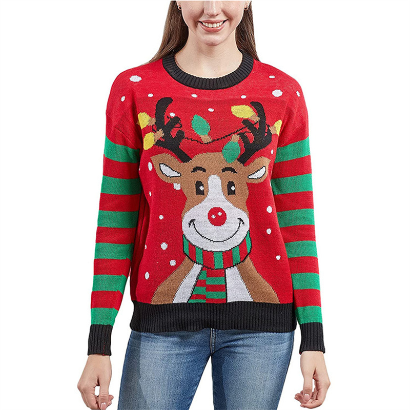 Women Ugly Christmas Sweaters Smile Deer Snowman Pullover Loose Knitted Jumper Sweaters