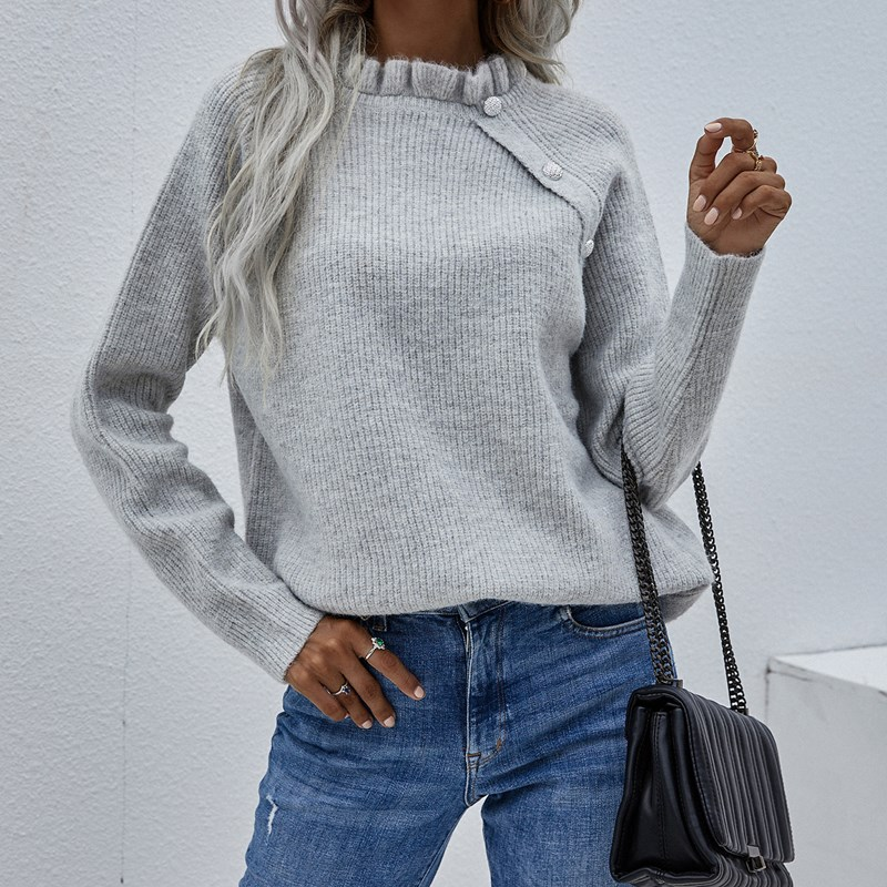 Women Pullover Loose Button V Neck Sweater Lotus Leaf-Neck Sweater