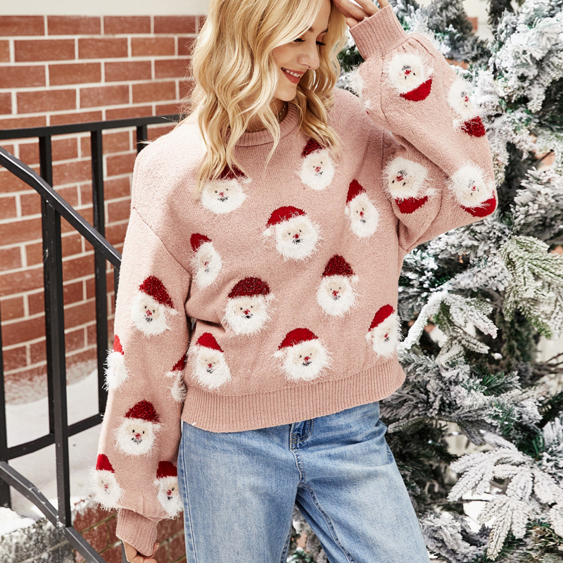 Women Red Santa Claus Head Pattern Knitted Pullover