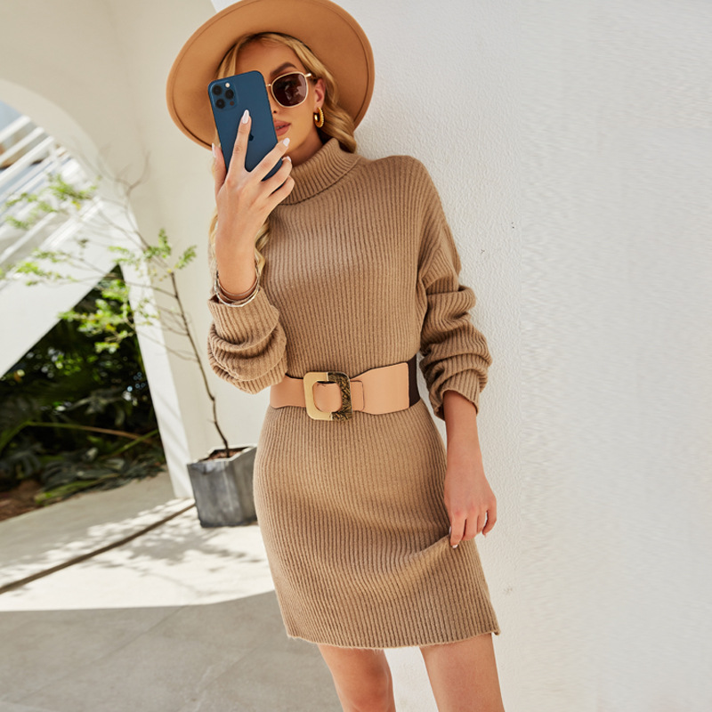 Women Pure Color long Pullover High Neck Knitted Dress