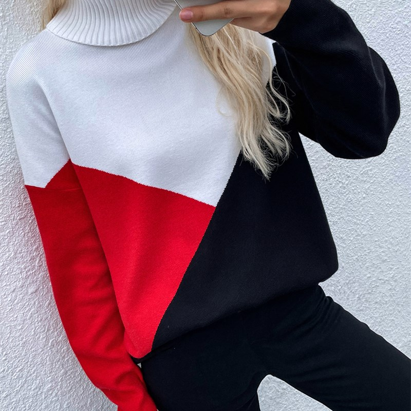 Women Stitching Knitted Pullover Check Loose Sweater