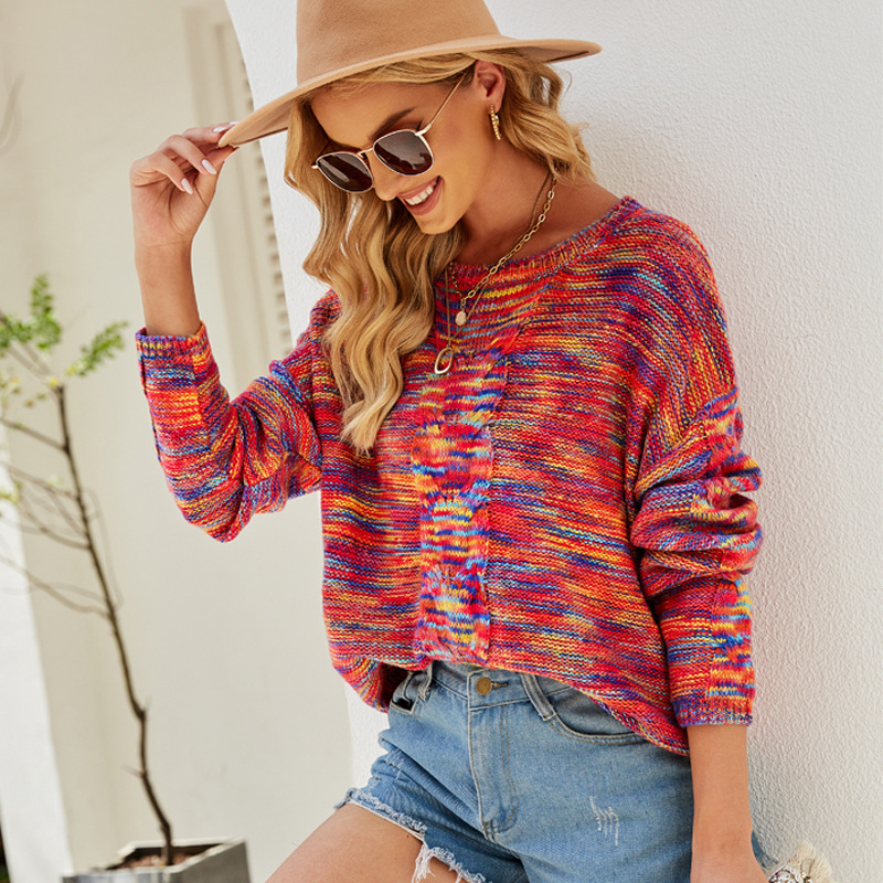 Women Round Neck Red Colourful Knit Pullover Sweater