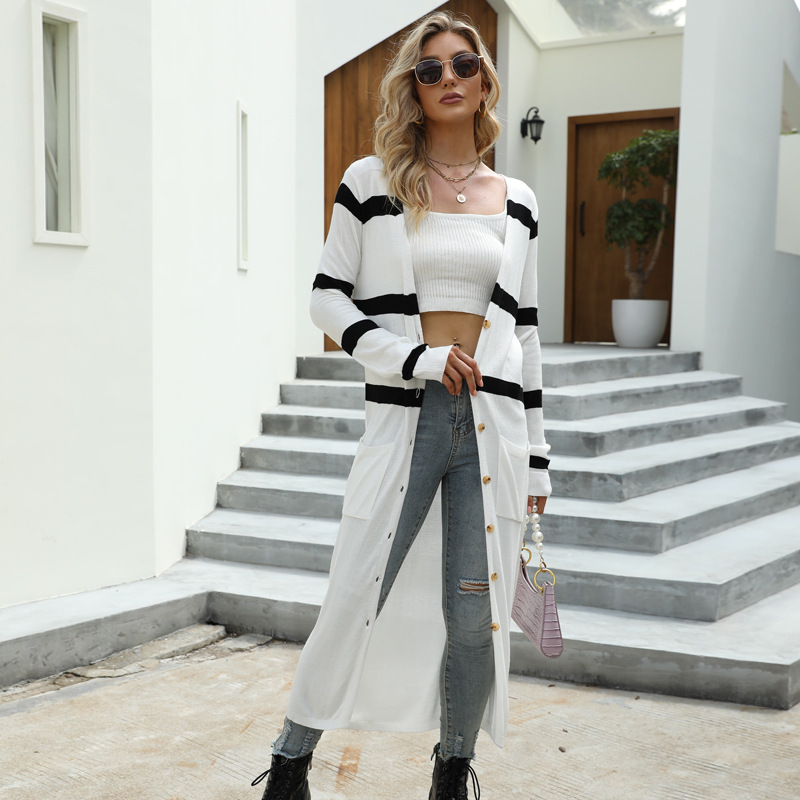 Women V Neck White and Black Striped Knit Cardigan with Button