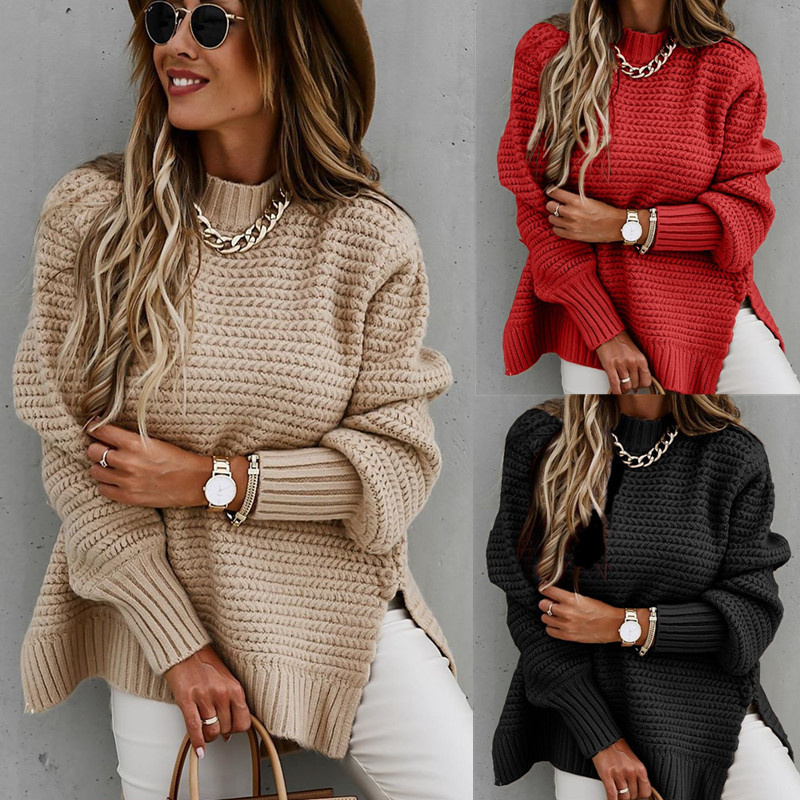 Women Oversized Puff Side Slit Loose Knitted Sweaters