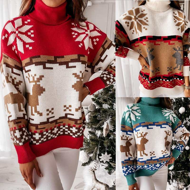 Women Ugly Christmas Elk Snowflakes Jacquard Knitted Pullover High Collar Sweater