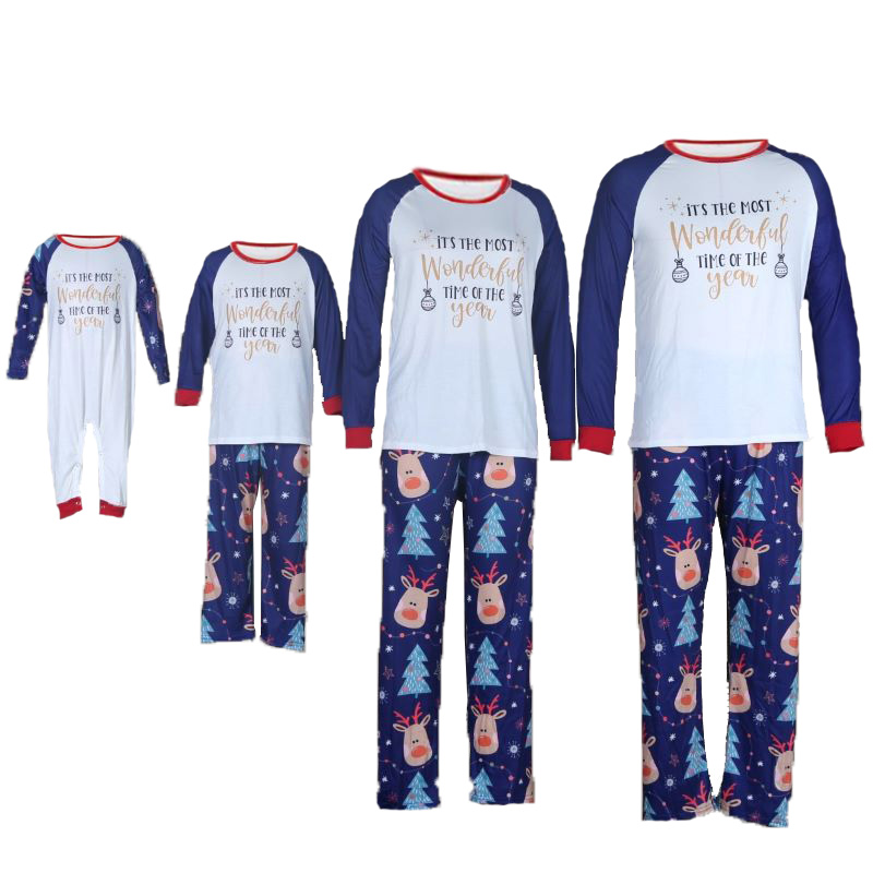 Christmas Family Matching Sleepwear Pajamas Wonderful Time Chandelier Top and Deers Pant With Dog Cloth