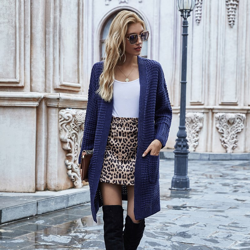 Women Knitted Cardigan OL Commuter Loose Solid Color Sweater