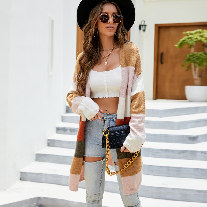 Women Matching Color Striped Knitted Long Cardigan Sweater