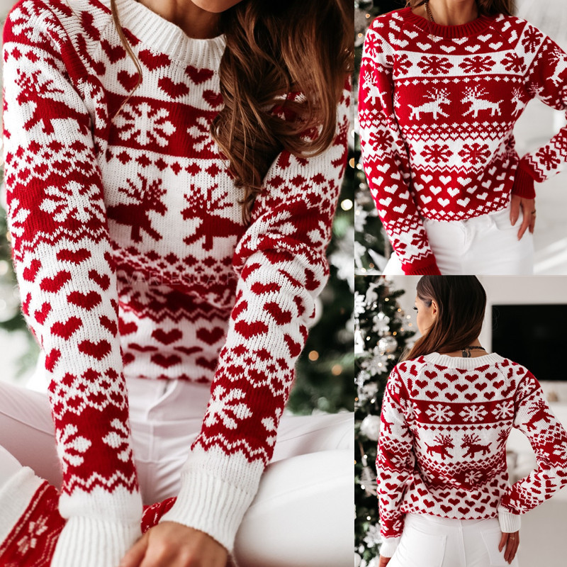 Women Christmas Elk Knitted Pullover Sweater Tops