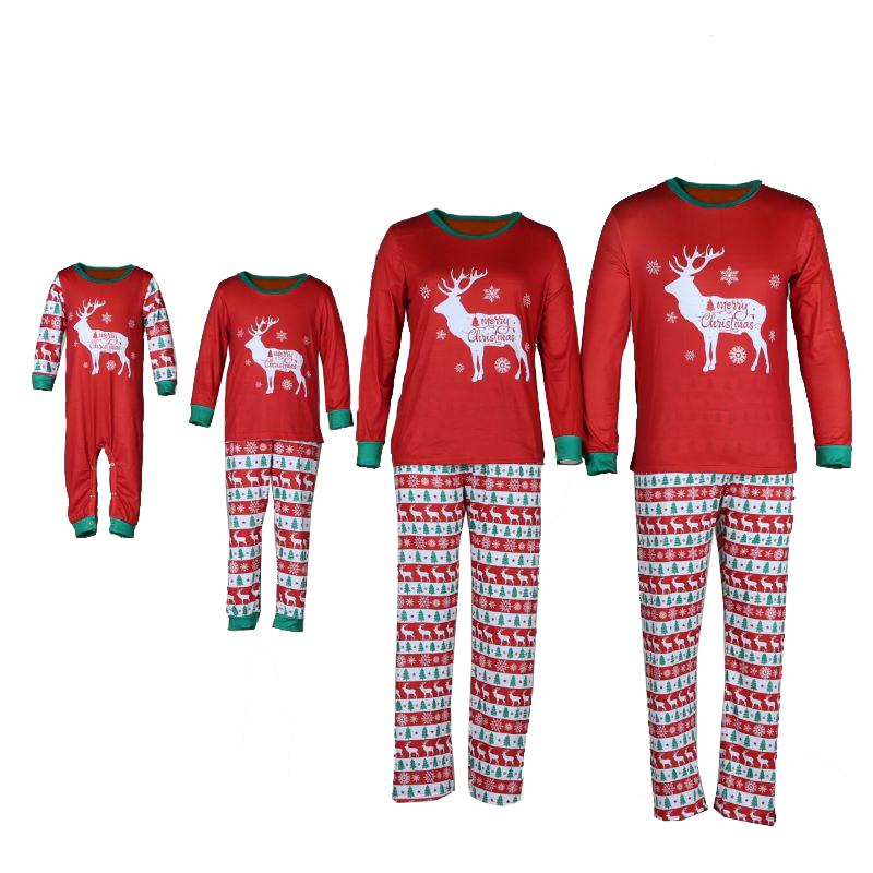 Christmas Family Matching Sleepwear Pajamas Red Christmas Deer Snowflake Pajamas Sets With Dog Cloth