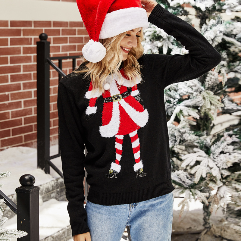 Women Christmas Santa Claus Embroidered Knitted Pullover Sweater Tops