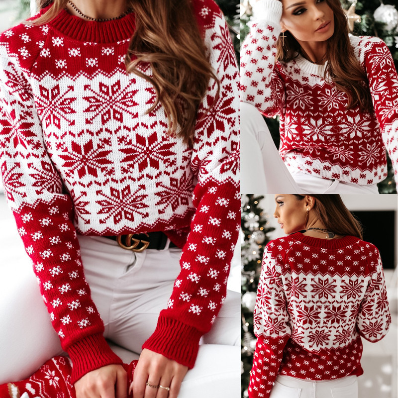 Women Ugly Christmas Snowflakes Hearts Knitted Pullover Sweater Tops