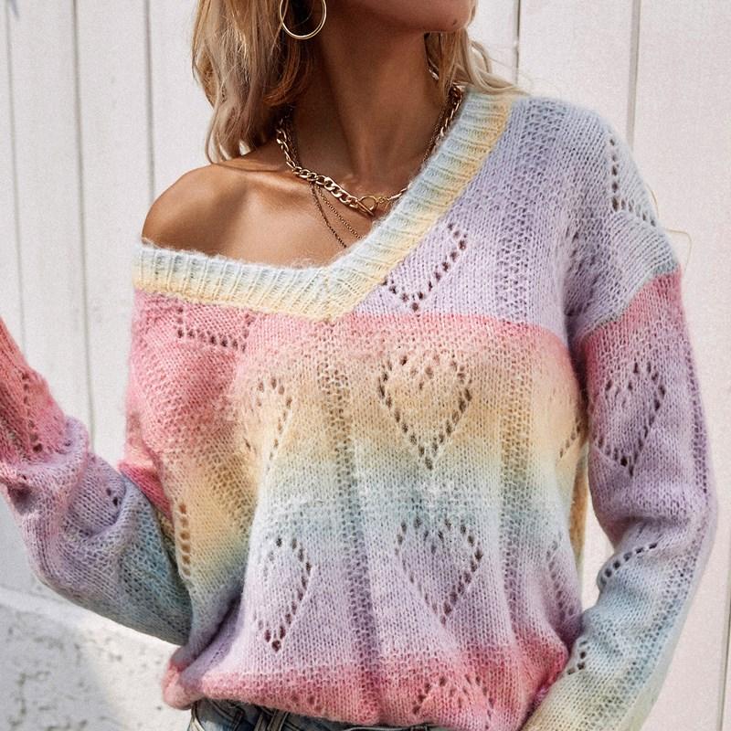 Women's Print Rainbow V Neck Pullover Knit Sweater