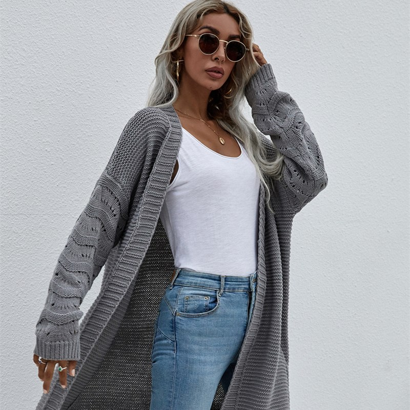 Women Pure Color Medium Length Hollowed Out Knit Cardigan