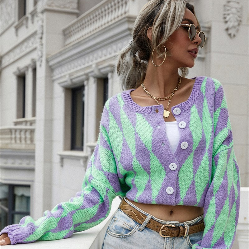 Women Single-Breasted Printed Round Neck Knitted Cardigan Sweater