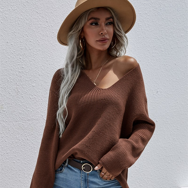 Women Pure Color Single Breasted Knitted Pullover Sweater
