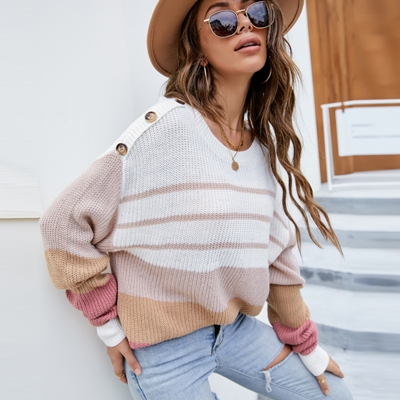 Women Color Matching Crew Neck Knitted Pullover Sweater Tops