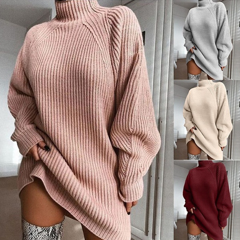 Women Turtleneck Oversized Sweaters Pullover Loose Chunky Knitted Jumper Sweaters Dress
