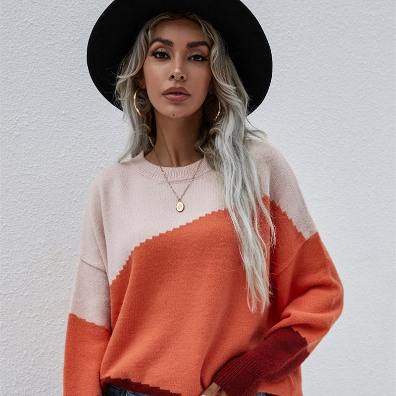 Women Knitted Loose OL Commuter Round Neck Striped Sweater Women