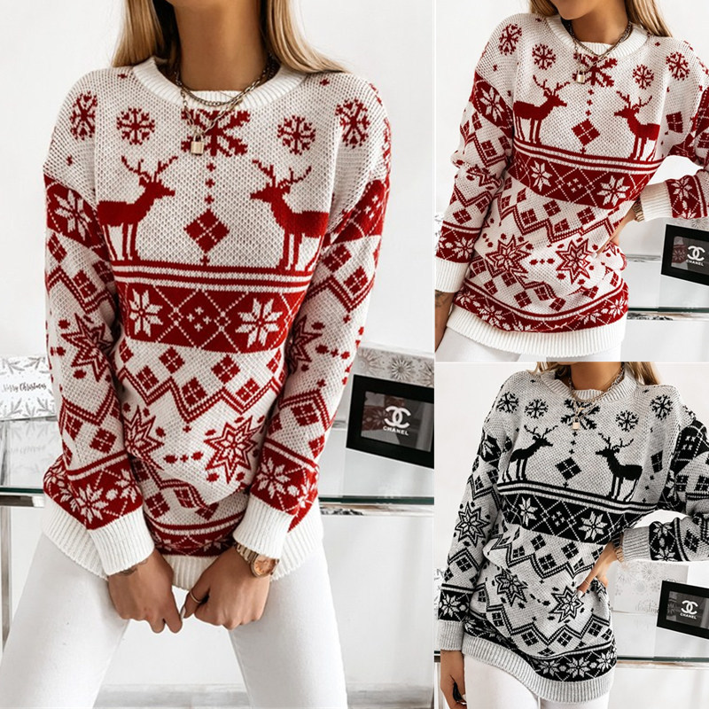 Women Ugly Christmas Elk Snow Jacquard knitted Pullover Sweater Tops
