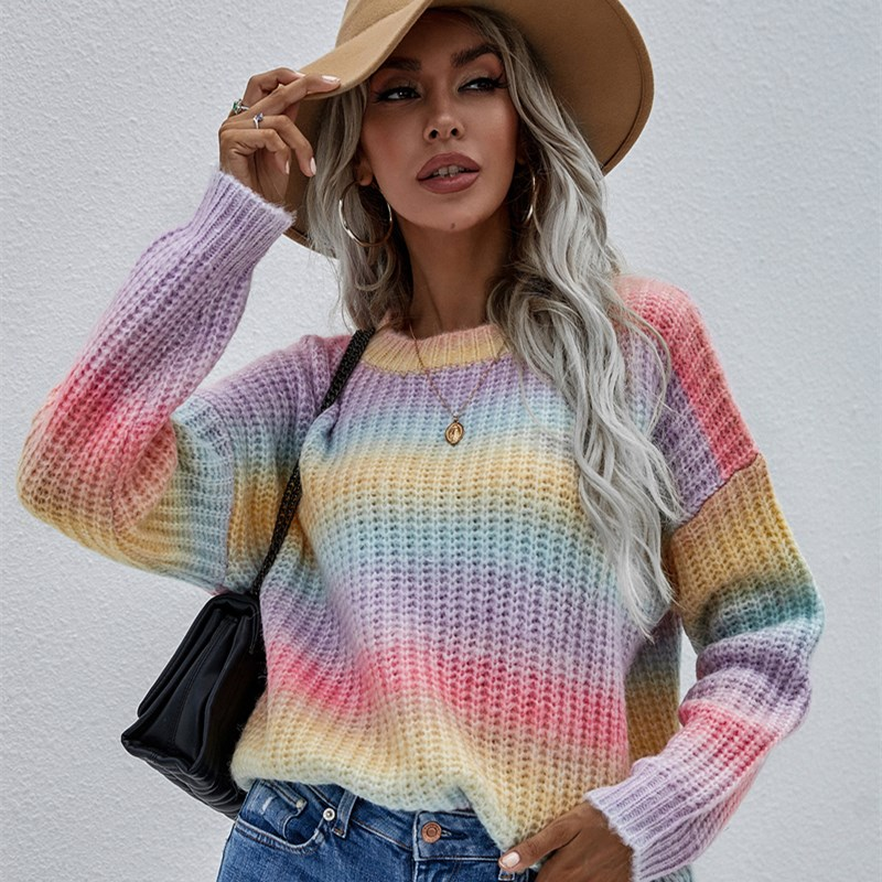 Women Pullover Striped Round Neck Sweater Loose Rainbow Sweater