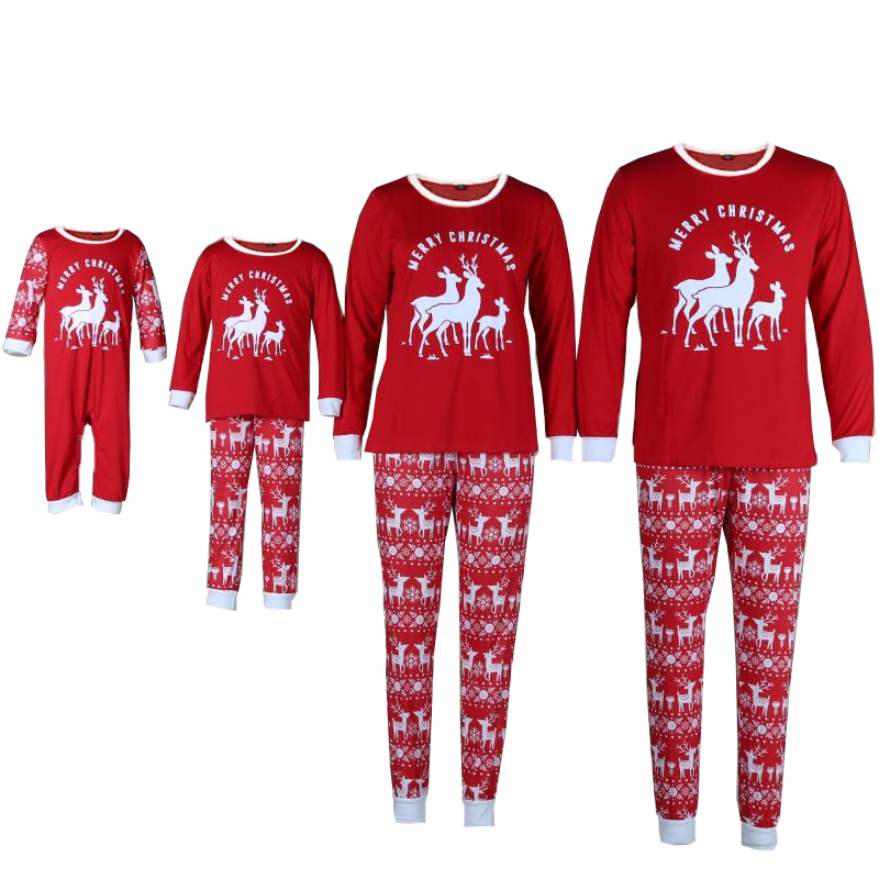 Christmas Family Matching Sleepwear Pajamas Christmas Red Deer Pajamas Sets