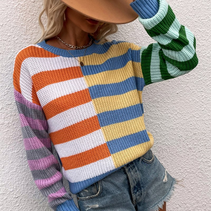 Women Striped Loose Round Neck Pullover Sweater 3 Color Matching Sweater
