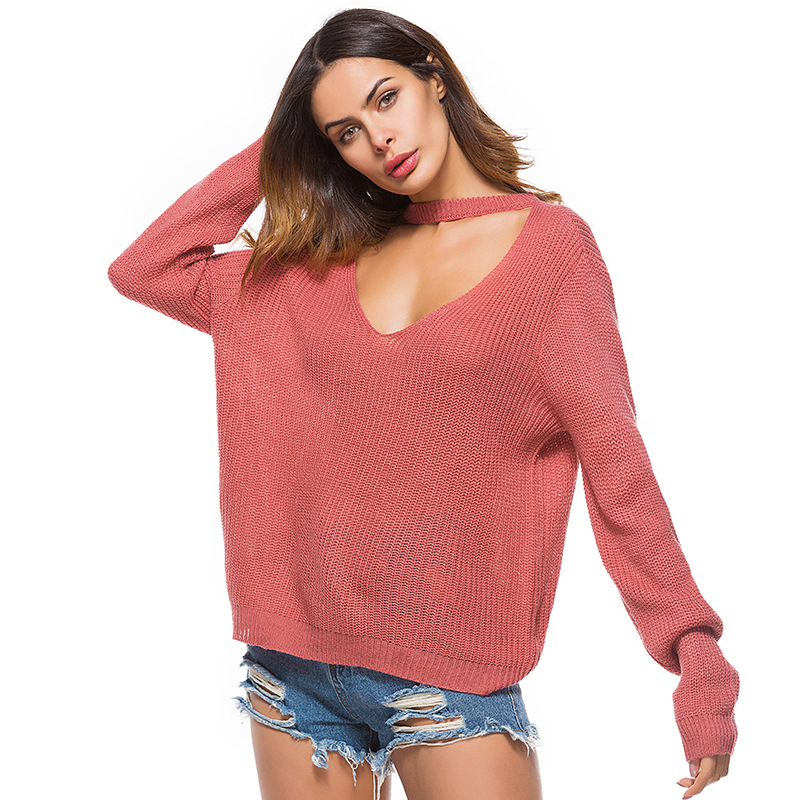 Women Deep V Neck Choker Knitted Pullover Sweater Tops