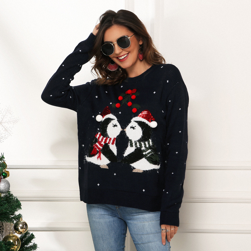Women Christmas Black Penguin Loose Pullover Sweater