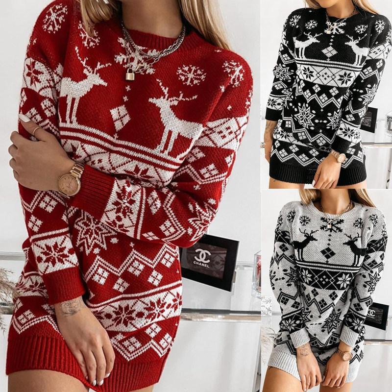 Women Elk Snow Christmas Jacquard knitted Dress