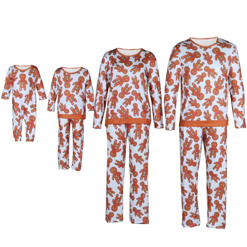 Christmas Family Matching Sleepwear Pajamas Gingerbread Cookie Printing Sets