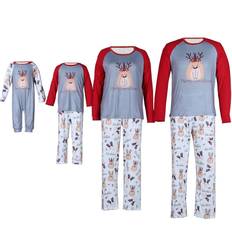 Christmas Family Matching Sleepwear Pajamas Christmas Grey Deer Pajamas Set