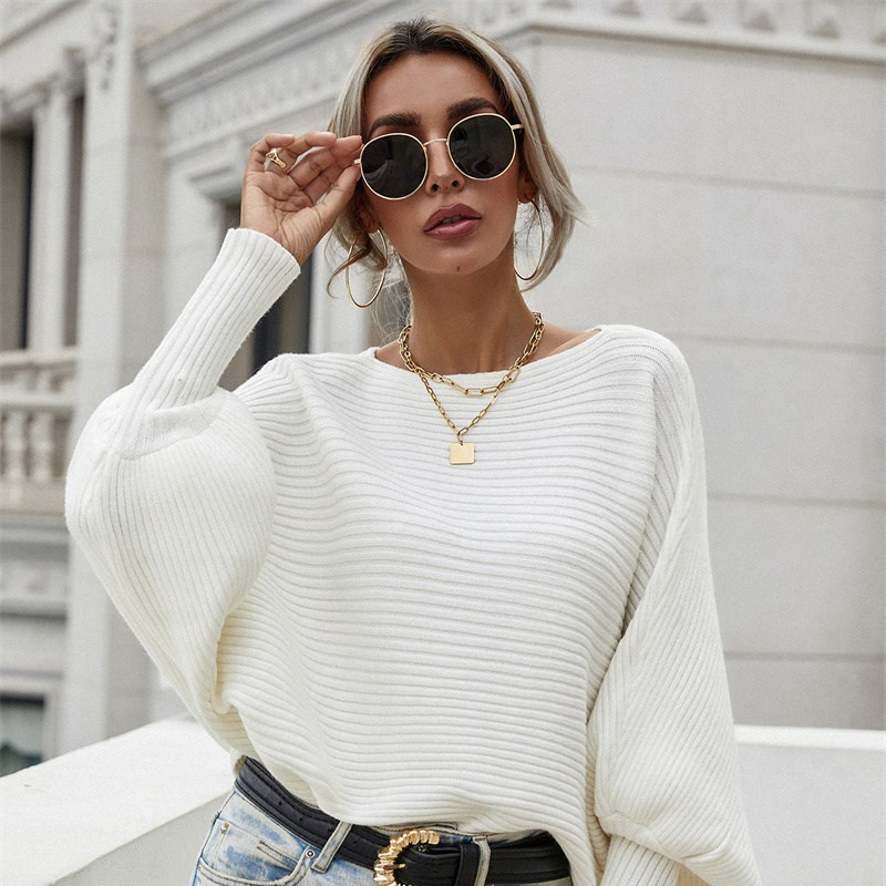 Women Loose Off Shoulder Solid Color Sweater Commuter Sweater