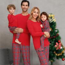 Christmas Family Matching Pajamas Christmas Red Top and Plaids Pant With Dog