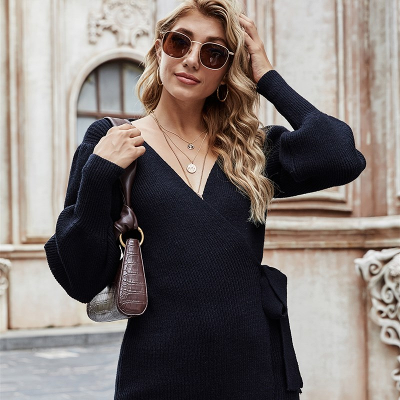 Women Lace-Up V Neck Sweater Loose Knit Cardigan