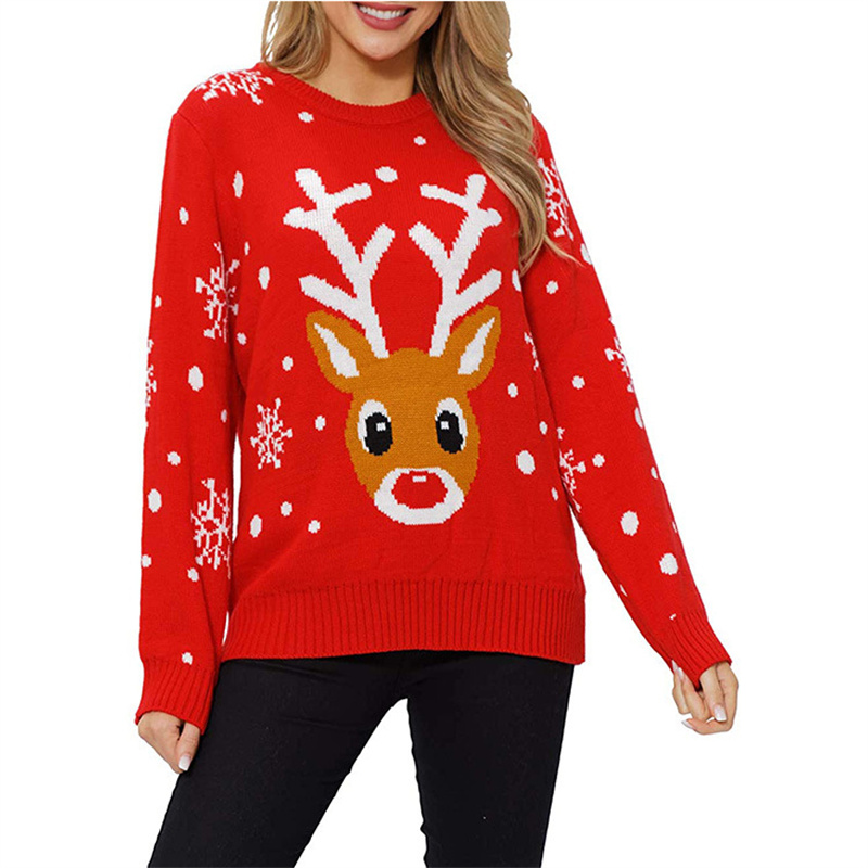 Women Ugly Christmas Sweaters Red Deer Snowflakes Pullover Loose Knitted Jumper Tops