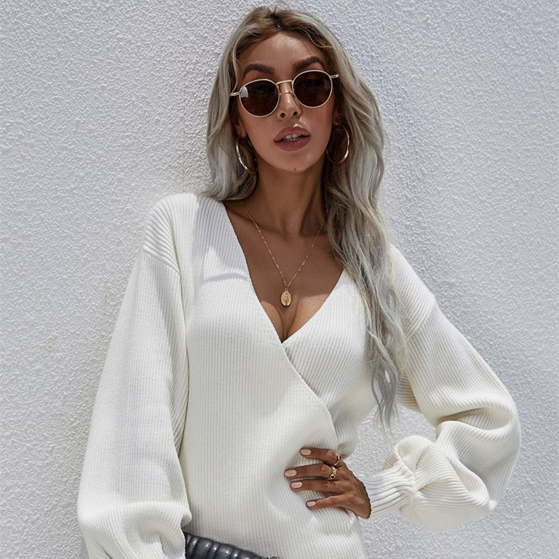 Women Crossover V Neck Solid Color Sweater Loose Sweater