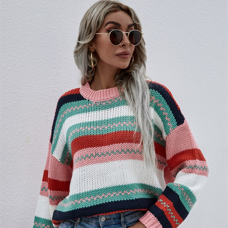 Women Rainbow Stitching Sweater Pullover Loose Sweater
