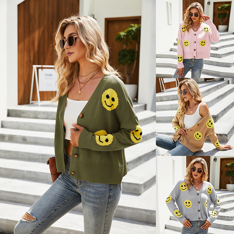 Women Emoji Smiling Face Knitted Cardigan with Buttons Sweater