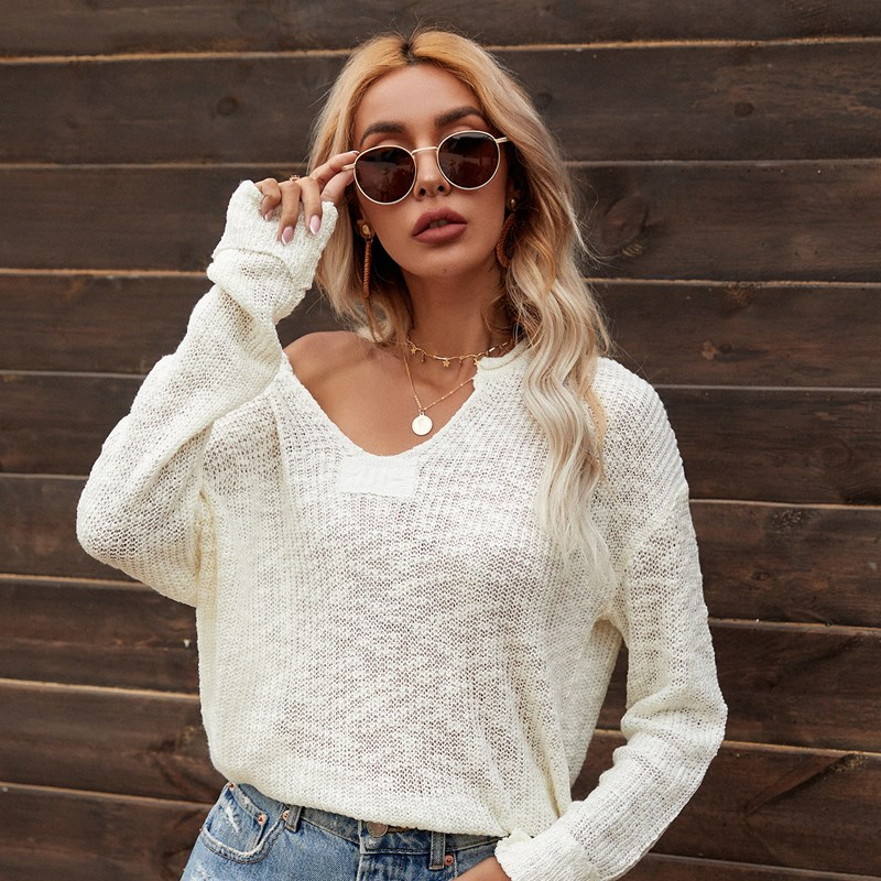 Women V Neck Knitted Loose Pure Color Fashion Pullover Sweater