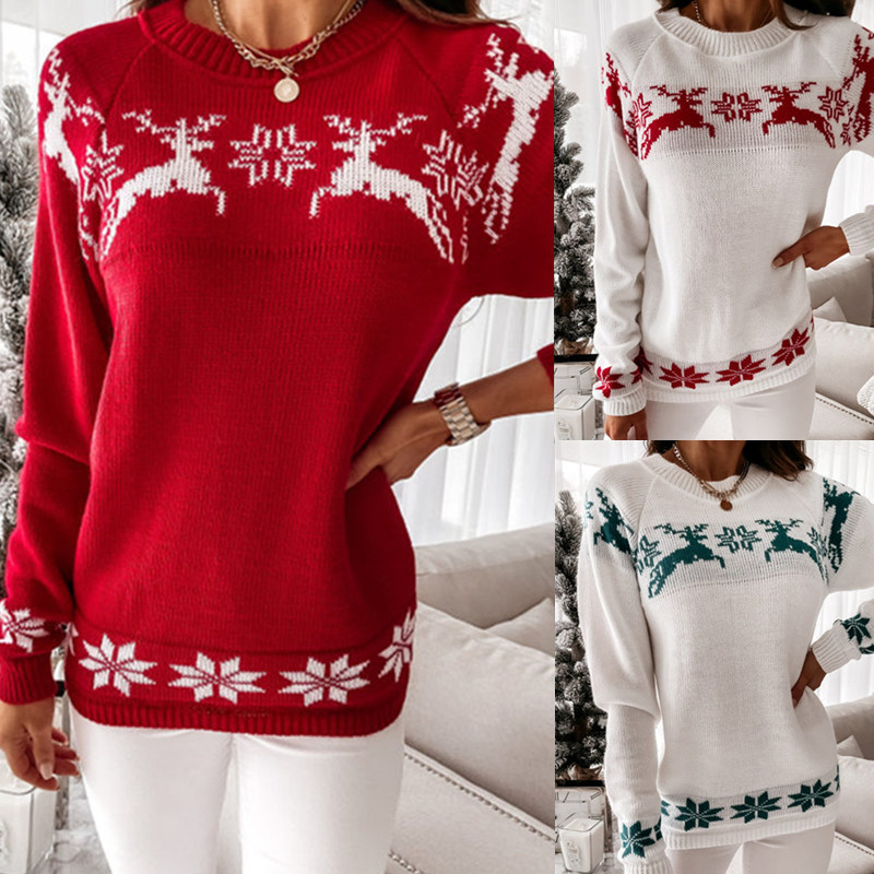 Women Christmas Elk Partial Jacquard Knitted Pullover Sweater Tops