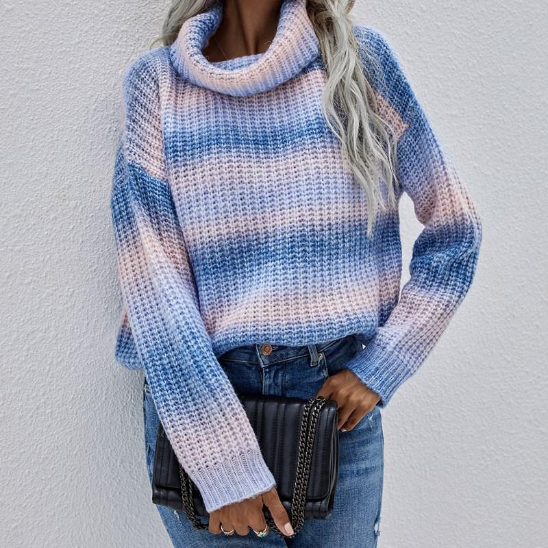 Women Commuter Striped Knit Turtleneck Pullover Knit Rainbow Sweater