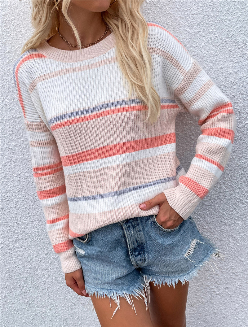Women Round Neck Striped Knitted Pullover Sweater
