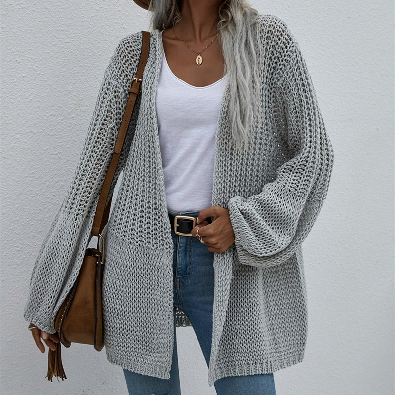 Women Pure Color Cardigan Flared Sleeve Knitted Sweater