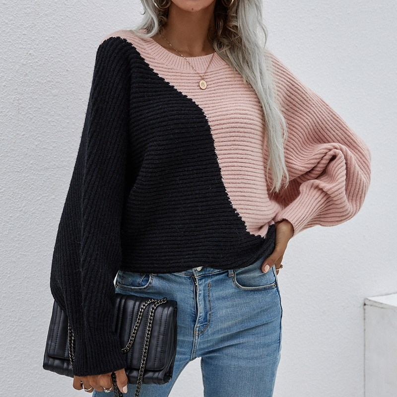 Women Bat Sleeve Color Block Round Neck Sweater Pullover Sweater
