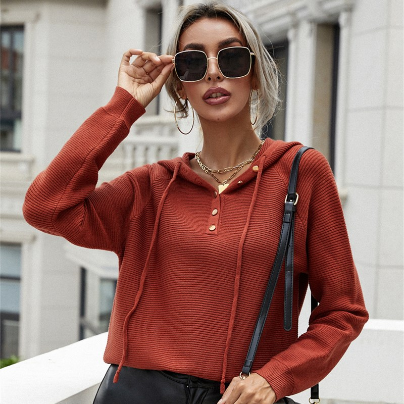 Women Button Up V Neck Pullover Hooded Knit Sweater
