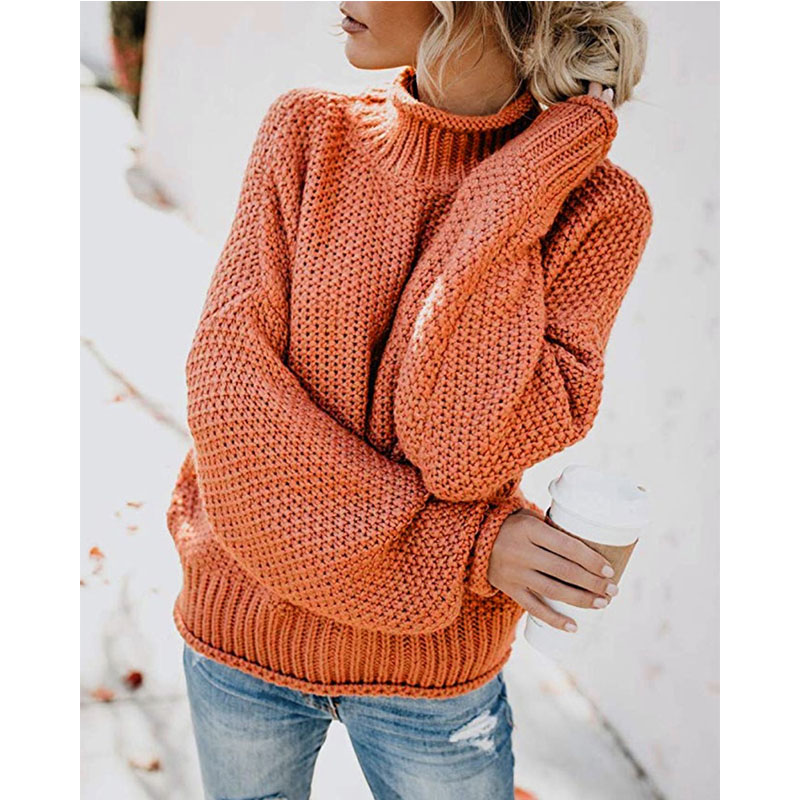 Women Turtleneck Batwing Pullover Loose Chunky Knitted Jumper Sweaters Tops