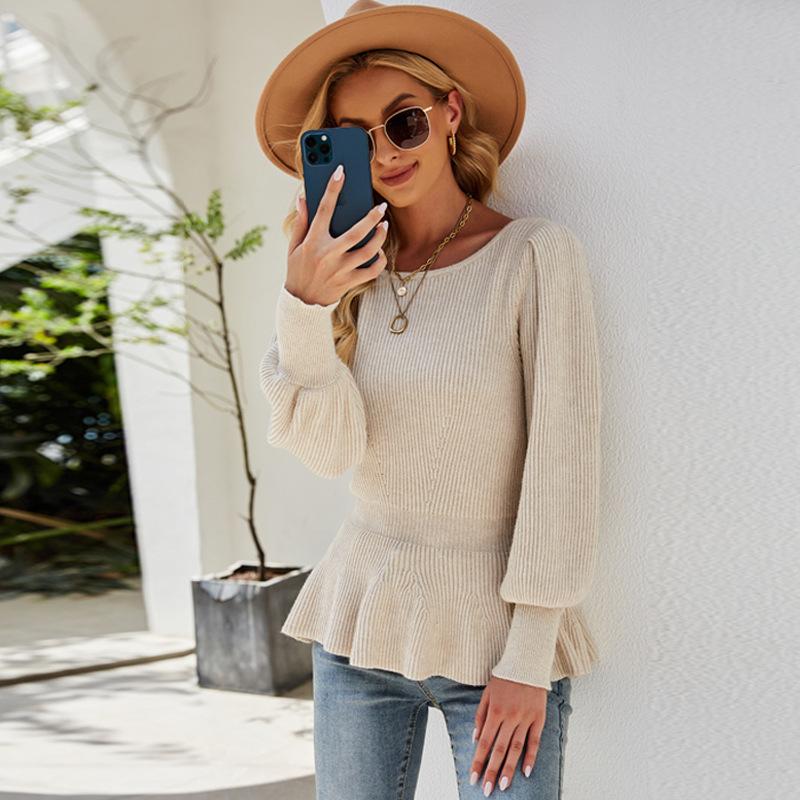 Women Ruffles Waist Lantern Knitted Sweater Top