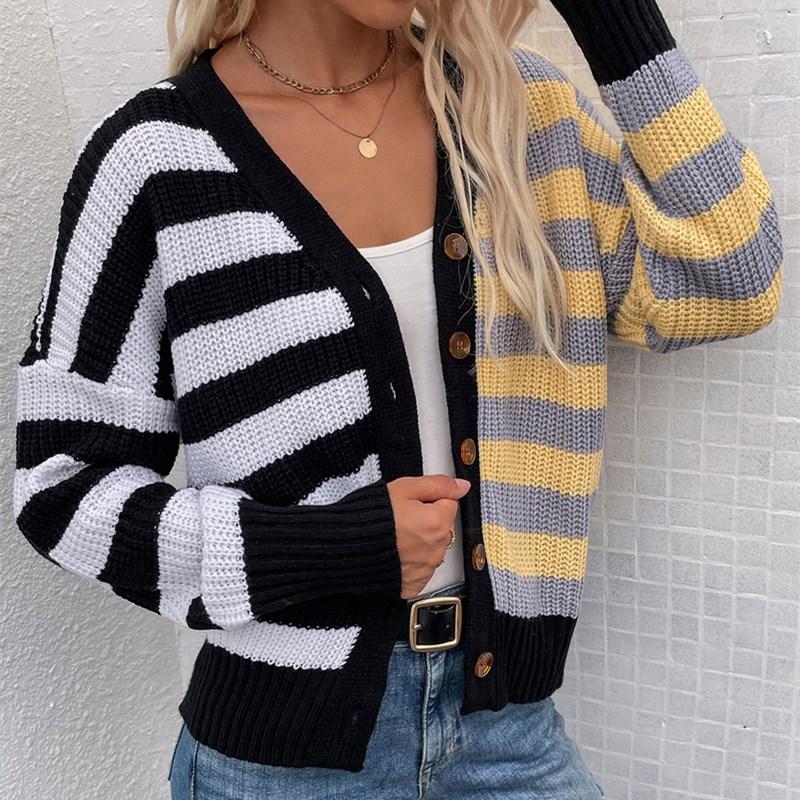 Women Striped Knit Single-Breasted Cardigan Sweater