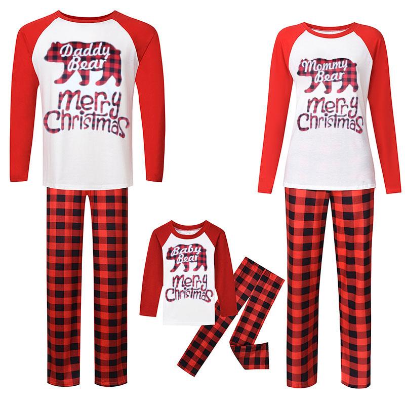 Christmas Family Matching Sleepwear Pajamas Red Plaids Bear Top and Plaid Pant With Dog Cloth